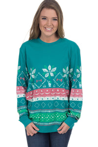 Seafoam Julep Print Stylish Christmas Jumper