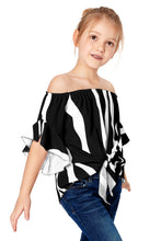 Load image into Gallery viewer, Black Off The Shoulder Vertical Stripes Toddlers Blouse