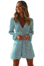 Load image into Gallery viewer, Sky Blue V Neck Floral Print Boho Ruffled Sleeve Dress