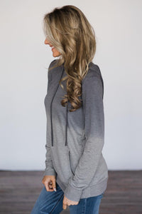 Gray Ombre Kangroo Pocket Pullover Hoodies