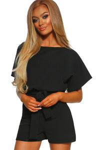 Black Over The Top Belted Playsuit