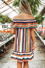 Load image into Gallery viewer, Multicolor Stripes Ruffles Off The Shoulder Dress
