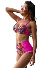 Load image into Gallery viewer, Rose Underwire Floral Print High Waist Bikini
