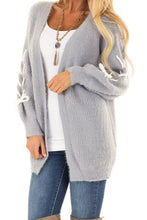 Load image into Gallery viewer, Gray Soft Long Sleeve Cardigan with Stitch Detail