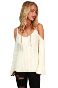 White Cold Shoulder Bell Sleeve Sweater