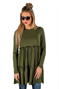 Army Green Long Sleeve Layered Babydoll Tunic