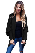 Load image into Gallery viewer, Black Ribbed Cuffs Dolman Sleeved Cardigan