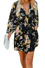 Load image into Gallery viewer, Black Casual V Neck 3/4 Sleeve Floral Dress