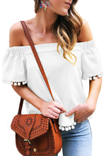 Load image into Gallery viewer, White Pom Pom Blouse