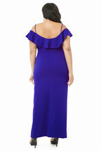 Load image into Gallery viewer, Blue Plus Size Open Shoulder Ruffle Dress