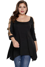 Load image into Gallery viewer, Black Plus Size Rhinestone Cutout Sleeve Top