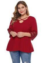 Load image into Gallery viewer, Red Plus Size Cutout Blouse Top