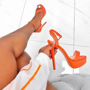 2020 New Women Sandals Solid Casual High Heel Shoes Night Club Lady Sandals Extreme Thin High Heels Platform Heels Orange