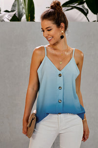 Blue Ombre Button Down V Neck Strappy Tank Top