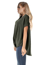 Load image into Gallery viewer, Green Short Sleeve Button up Blouse with Twisted