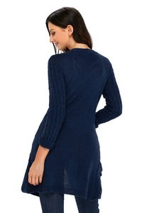 Navy 3/4 Sleeve Open Front Casual Knit Sweater