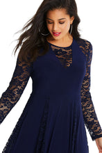 Load image into Gallery viewer, Blue Night Lace Insert Plus Size Maxi Dress