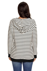 White Black Stripes Women Casual Hoodie