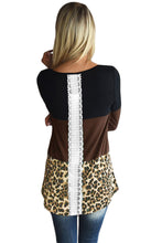 Load image into Gallery viewer, Black Taupe Block Leopard Splice Long Sleeve Top