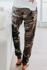 Green Cotton Blend Pocketed Camo Joggers