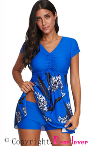 Blue Printed Short Sleeve Swimsuit with Boyshort