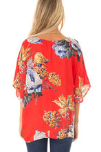 Load image into Gallery viewer, Orange Amaryllis Floral Twist Top