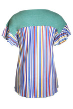 Load image into Gallery viewer, Green Striped Ruffle Sleeve Tie Top