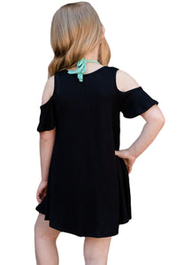 Black Ruffle Cold Shoulder Dress for Little Girls