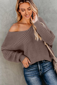 Brown Carry On Knit V Neck Pullover Sweater