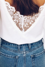 Load image into Gallery viewer, White Front Lace Button Tank Top