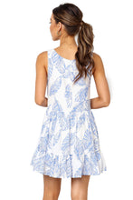 Load image into Gallery viewer, Sky Blue Leaf Pattern Ruffled Summer Boho Dress