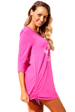 Load image into Gallery viewer, Rosy Ruched Tie Side V Neck Beach Cover Up