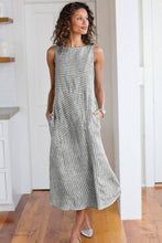 Load image into Gallery viewer, Gray Crew Neck Striped Shift Daily Dress