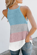 Load image into Gallery viewer, Sky Blue Color Block Striped Knit Tank Top
