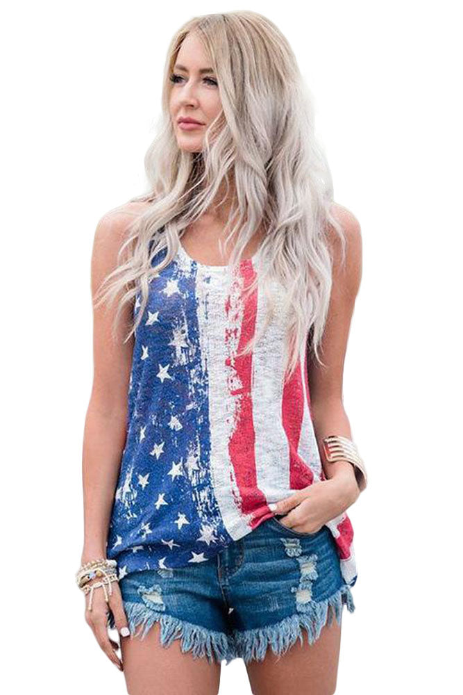 Vintage United States Flag Sleeveless Tank Top