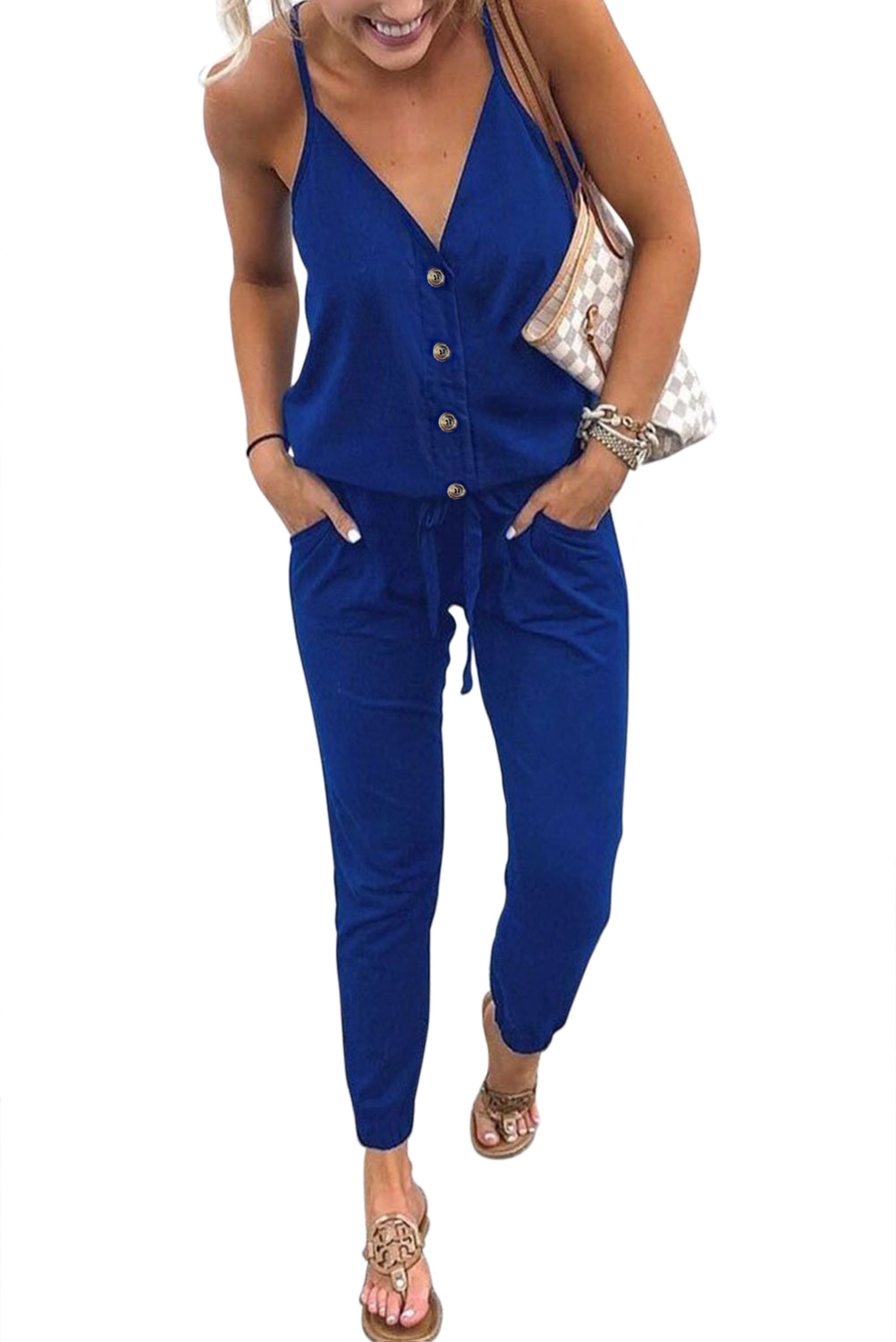 Blue Buttoned V Neck Sleeveless Jumpsuit