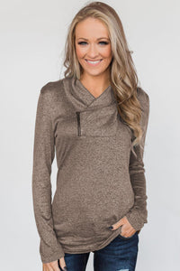Brown All This Time Zipper Pullover Top