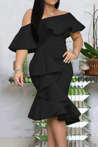 Black Stylish Off The Shoulder Ruffle Design Knee Length Dress
