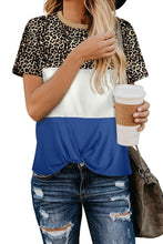 Load image into Gallery viewer, Blue Color Block Leopard Tee
