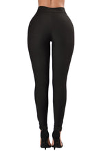 Load image into Gallery viewer, Black Grommet Lace Up Front Leggings