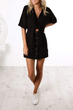 Load image into Gallery viewer, Black Shirt Mini Dress