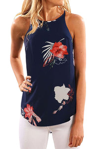 Beautiful Floral Print Tank Top in Navy