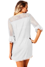 Load image into Gallery viewer, White Crochet Pom Pom Trim Beach Tunic Cover up