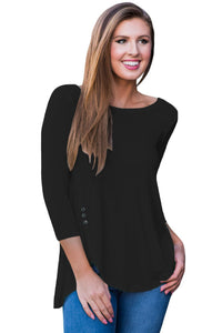 Black Button Slit Detail Long Sleeve Blouse