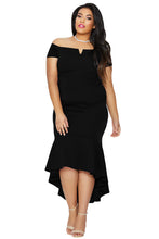 Load image into Gallery viewer, Black Plus Size Dip Hem Fishtail Midi Dress