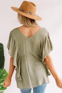 Green V Neck Draped Dotted Pattern Tunic Top