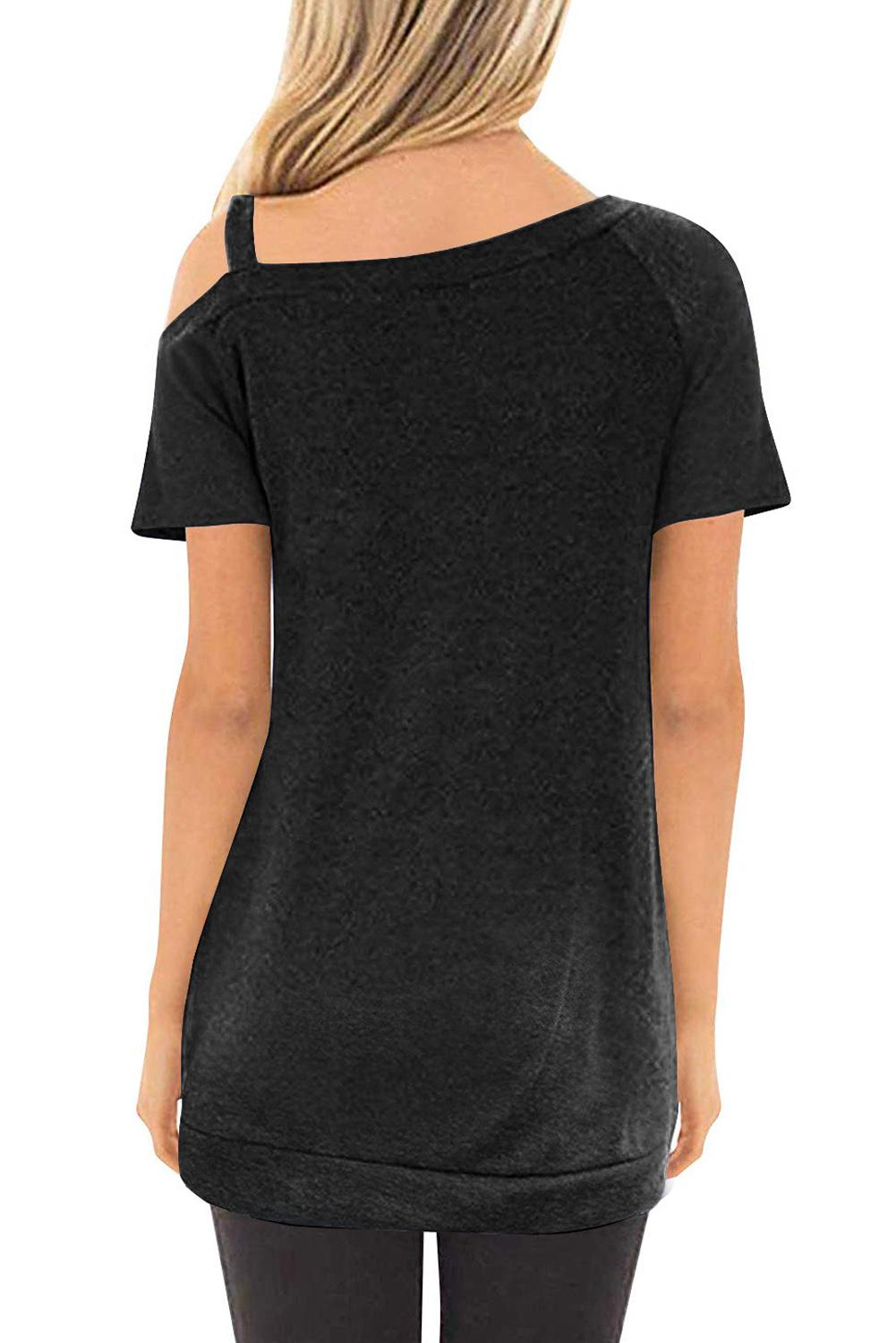 Black Sling Short Sleeve Casual Buttoned Top