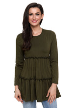 Load image into Gallery viewer, Army Green Long Sleeve Layered Babydoll Tunic