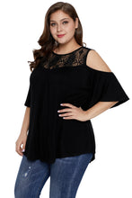 Load image into Gallery viewer, Black Plus Size Crochet Yoke Cold Shoulder Top