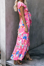 Load image into Gallery viewer, Rose Floral High Low Pocketed Tie Maxi Dress